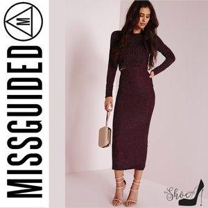 Missguided Tops - MissGuided:Glitter Stripe Crop Top Purple